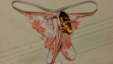 NWT Crutch less panties Orange & White w/ Floral Lace One size 10744