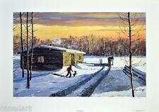 Allen SAPP LTD art print RARE Boy Playing with Dog Log Cabin 550 s/n Canada