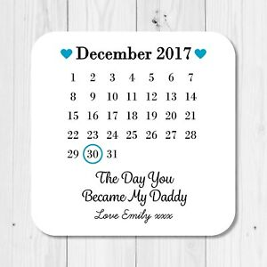 Personalised Sentimental Dad Daddy Wooden Coaster Mat Birthday Gift Present