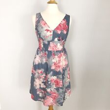 ANN TAYLOR LOFT Woman's Summer DRESS Size S BLUE PINK FLORAL PRINT EUC