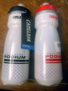 Pair of CAMELBAK Insulated Series BICYCLE WATER BOTTLE 21oz WHITE & RED NEW