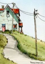 """ACEO 2.5""""x3.5"""" Original Watercolor Peter Sheeler autumn old house on a hill top"""