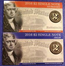 2016 USA $2 TWO DOLLAR FEDERAL RESERVE DALLAS & SAN FRANCISCO NOTES UNC BEP