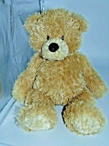 """Gund Stitchie 14""""  Fluffy Brown Teddy Bear Plush 4052985"""