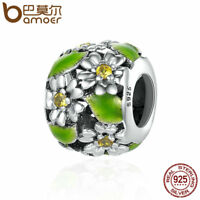 BAMOER Retro 925 Sterling silver Charm Enamel Flower dance For bracelet Jewelry