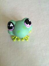Littlest Pet Shop Green Spotted Frog w/ purple FLOWER EYES Pond Pet