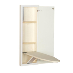 Ironing Board Stow Away In-Wall Prefinished Two Storage Shelves Cabinet White