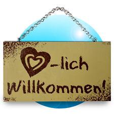 Schild Spruch Wandhänger Holz Schilder Sprüche Herzlich Willkommen mit Kette