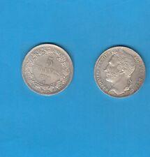 Belgique  Léopold 5 Francs argent tête laurée 1849 Superbe mais nettoyée