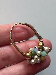 Sterling Silver Earrings Multi Stone Pearl Orecchini Argento 925 Pietre Perline
