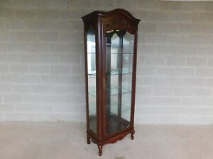 Jasper French Louis XV Style Cherry Lighted Curio Display Cabinet