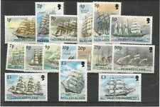 FALKLAND ISLANDS 1989 CAPE HORN SAILING SHIPS SG,567-582 U/MINT LOT 7611A