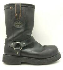 Harley Davidson Black Leather Steel Toe Riding Boots Zip Up Boots Men's 9