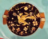 Ancien Plateau Miroir de Bistrot Circulaire 1950 sérigraphie verre Oiseau fleurs