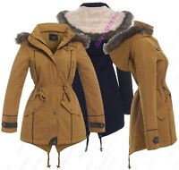 WOMENS PADDED COAT Quilted HOODED Faux Fur PARKA Size 8 10 14 16 20 24 Mustard