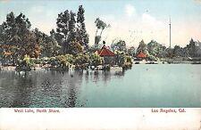 California postcard Los Angeles West Lake North Shore ca 1909