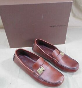 AUTH LOUIS VUITTON LOMBOK LEATHER MOCASSINS DRIVING LOAFERS BROWN GOLD BUCKLE