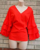 DOROTHY PERKINS RED RUFFLE FRILL LONG SLEEVE V NECK BAGGY BLOUSE SHIRT TOP 16