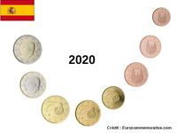Série Euros Espagne 2020 - 8 pièces UNC 0.01 cent à 2 Euros