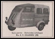 Publicité Voiture sans Permis Chassieu Triporteur  Tri-car vintage  ad 1965 - 9J