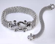 Designer Inspired Silver Mesh CZ Crystal Black Onyx Magnetic Buckle Bracelet