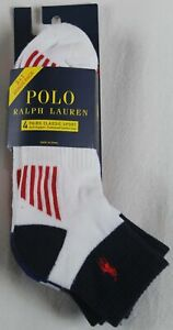 Polo Ralph Lauren 4 Pairs Red White Blue Sport Ankle Socks 10-13 NWT