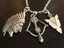 "Indian Chief Bow & Arrowhead Charm Tibetan Silver with 18"" Necklace A"