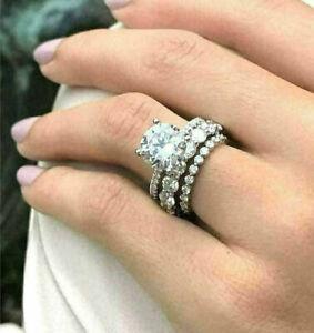 14K White Gold 2.20Ct White Round Cut Diamond Engagement Wedding Trio Ring Set
