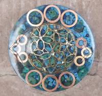 "3"" Chrysocolla & Turquoise Third Eye Chakra Orgone Energy Charging Plate"