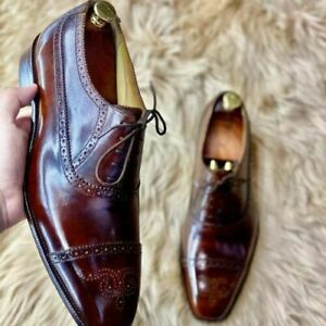 Mens Handmade Brown Brogue Wingtip Leather Oxford Luxury Shoes For Men-ALL SIZE