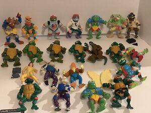 Lot of 22 Vintage Teenage Mutant Ninja Turtles Action Figures TMNT 1988-1991
