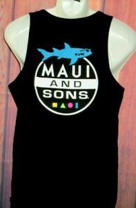 MENS MAUI & SONS SHARK BLACK TANK TOP T-SHIRT SIZE M
