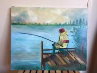 Tableau Ancien Huile Sur Toile Signée C.CANIVEZ BAK (XXe-s) pêcheur