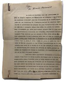 Tapuscrit signé d'Edmond Haraucourt  : Préface d un livre sur l'Afrique,1936