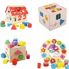 Baby Kids Wooden Building Blocks Number Geometry Clock Intellectual Educational