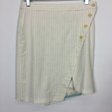 Sisley IT 38 US 2 Skirt Off White Pinstripe Button Front Diagonal  Wrap Lined