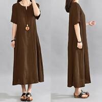 Plus Size Women Casual Kaftan Dress Loose Tunic Long Maxi Dress Cotton Linen 5XL