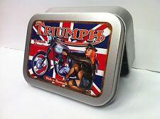 Bonneville Motorcycle Flag Pin up Girl Cigarette Tobacco Storage 2oz Hinged Tin