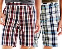 New JCP Men's Slim-Fit Flat-Front Madras Style Poplin Shorts Size 36-40 Orig $30