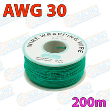 Bobina AWG30 - VERDE - 200m Cable Hilo WRAPPING electronica soldar