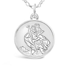 STERLING SILVER ST SAINT CHRISTOPHER PENDANT CHAIN NECKLACE -  TRAVEL BACK