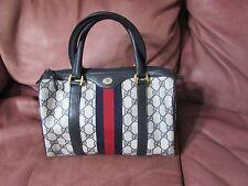 Vintage Gucci Italy blue web canvas stripe collectors boston speedy hand bag