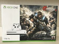 New Sealed Microsoft Xbox 1 S Gears of War 4 Bundle 1TB White Console W/ 2 GAMES