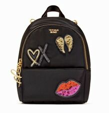 Victoria's Secret Runway Patch Mini City Backpack Black With Sequin New