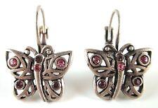 £25 Boho Silver Pink Purple Butterfly Drop Earrings Swarovski Elements Crystal