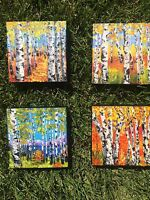Art original  oil painting  Birch trees set of 4 forest woods birches seasons