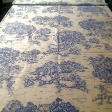 Textiles Art Film Fabric Pastoral Village Life Toile Blue And Beige 3 Yards