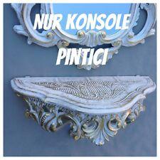 Console / Applique murale Baroque Miroir Table Rétro 38x20x15 antique Or Blanc