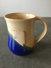 Vintage Nevada State Coffee Mug Cup Heart Pottery Signed 4.5� Tall Cobalt Blue