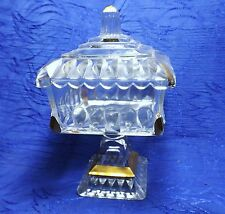 VTG Jeanette Pressed Glass Wedding Cake/Candy Dish w/Lid Gold Gilt Trim Compote